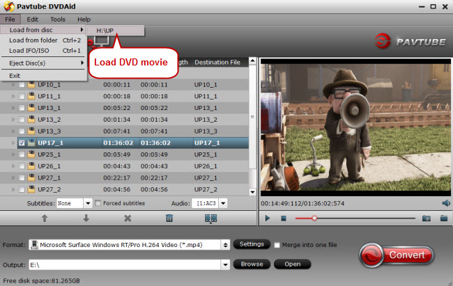 load dvd movie for conversion to surface pro 3