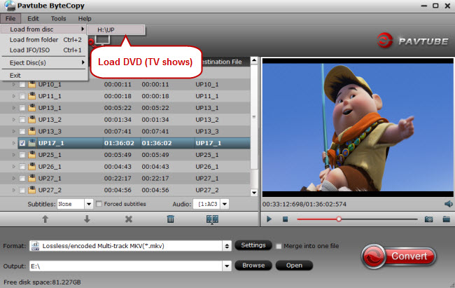 load dvd tv shows for ripping dvd to vlc