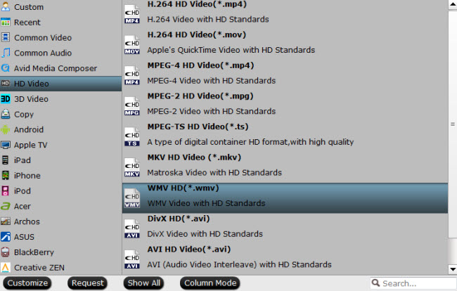 Output high definition WMV HD file format