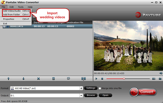 load wedding videos for editing