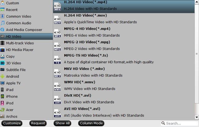 Output Vizio HD TV supported H.264 HD format