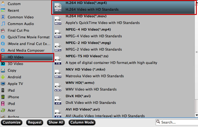 Output iPad supported HD file formats