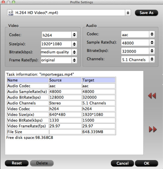 Adjust output profile parameters