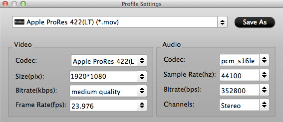 Adjust Prores LT Settings