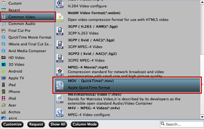 Convert video to mov for QT