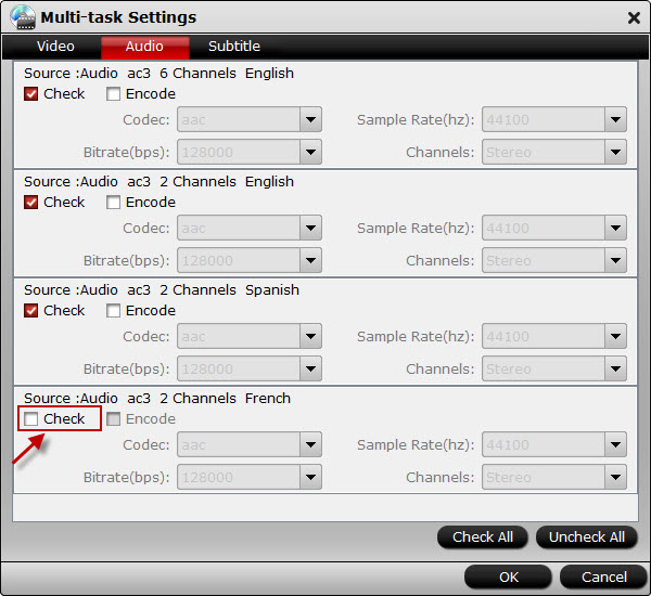 Customize audio or subtitle tracks for output