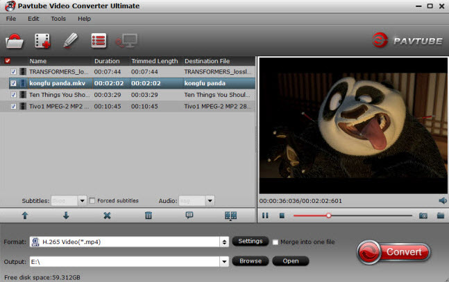 Import source MKV video files