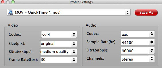 Adjust QT MOV profile settings