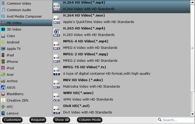 Output VLC media player best compatible HD file formats