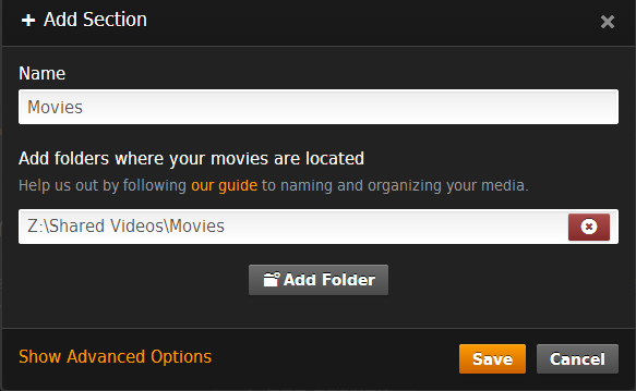 Add section in Plex