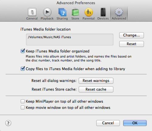 iTunes for NAS preferences