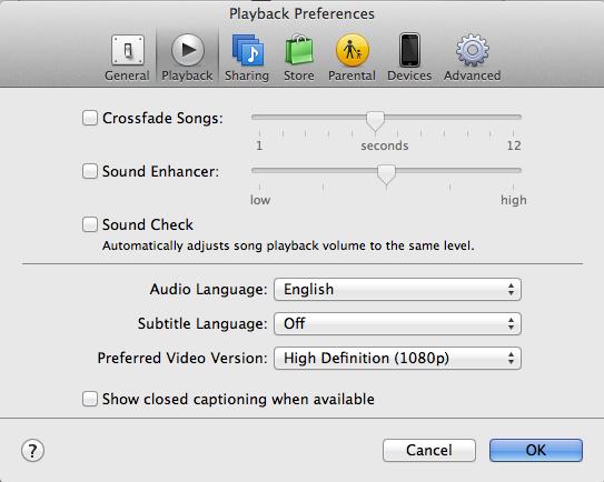 iTunes setting