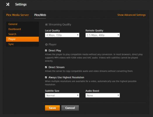 Plex settings