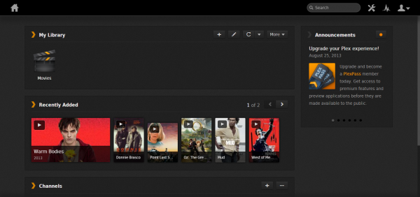 Plex user interface