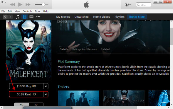Rent a Movie in iTunes 12