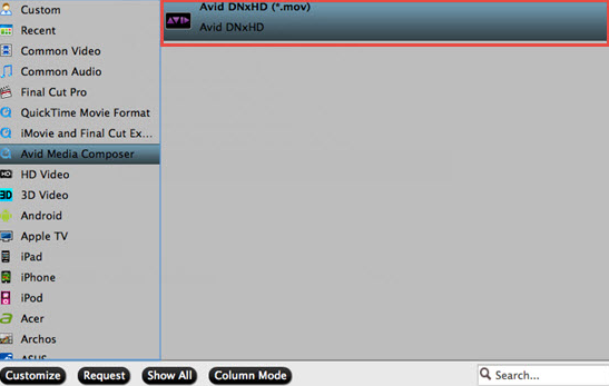 Choose to output Avid DNxHD editing codec