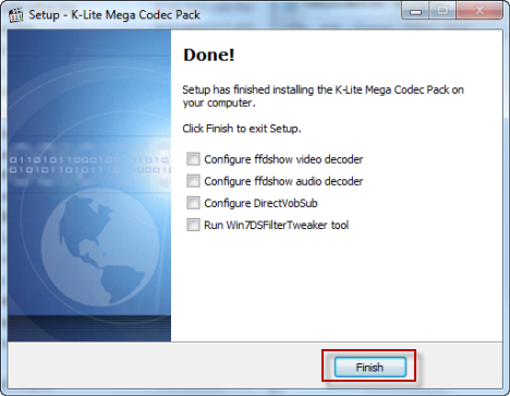 Windows Media Player K Codec installation finished