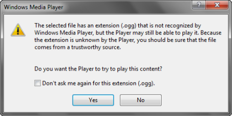 Windows Media Player warning windows