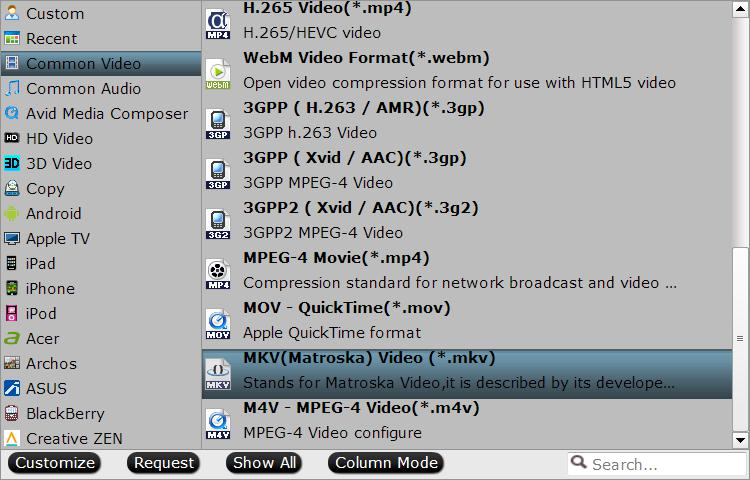 Select MKV as output file format