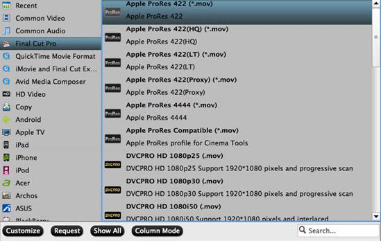 Choose Apple Prores 422 format