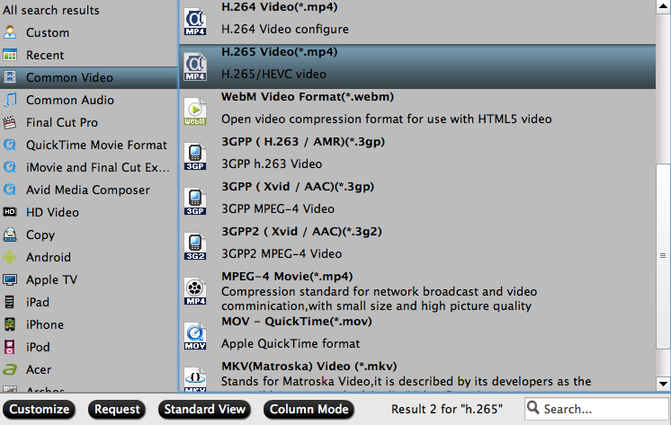 Choose output video formats