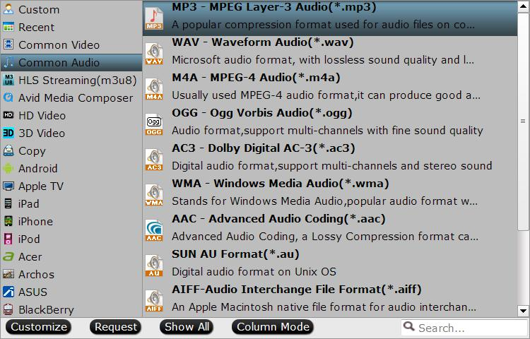 Choose output audio file format