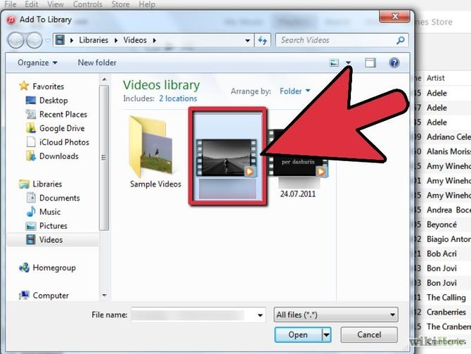 Add personal video to library