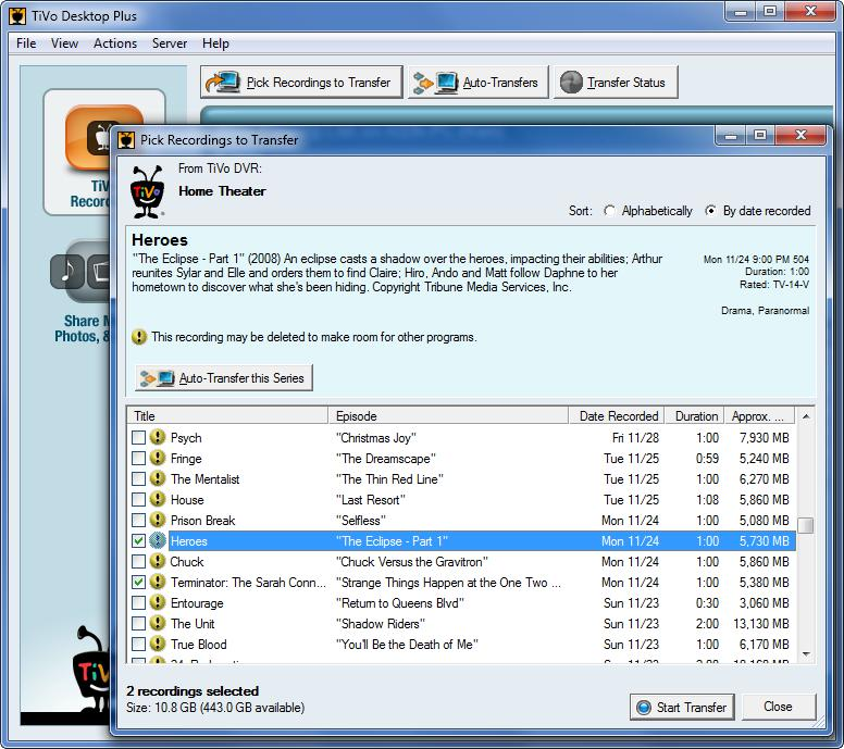 Select and check Tivo recordings to transfer