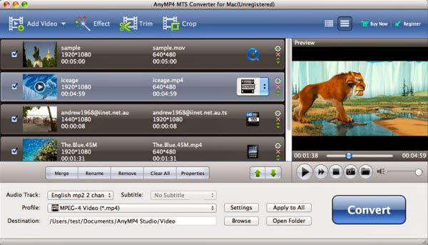 Any MP4 MTS M2TS Converter for Mac