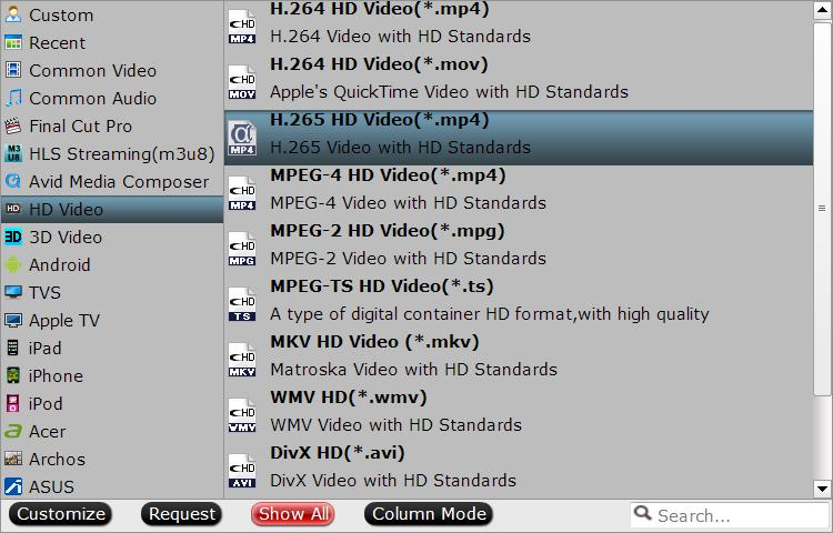 Output HD H.265 MP4 format