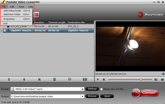 Load MP4 video into the program