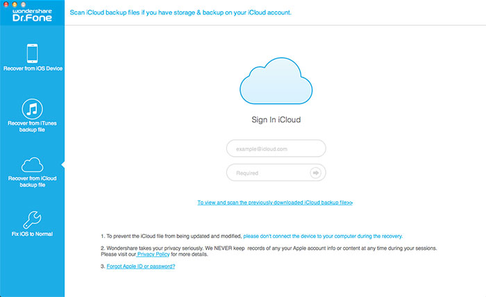 Sign in iCloud account under iCloud recovery mode