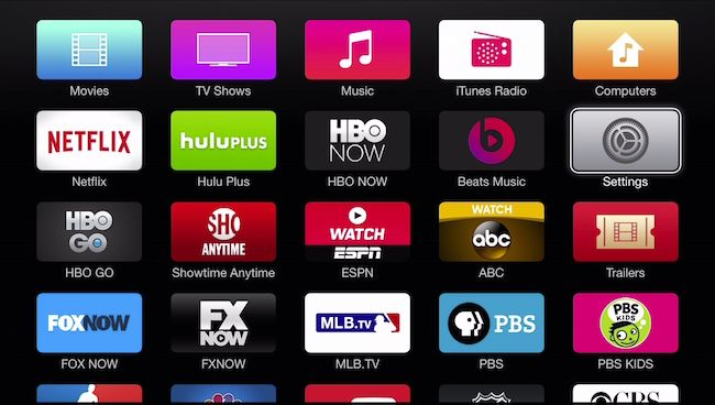 Apple TV screen with all apps