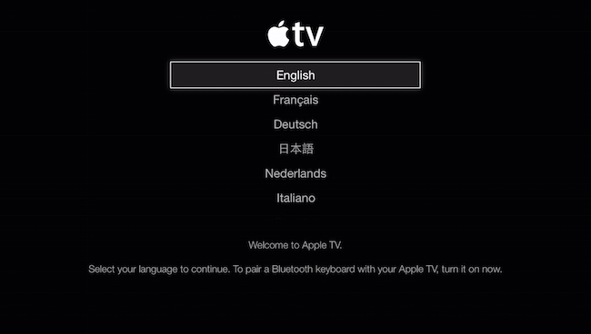 Apple TV language screen