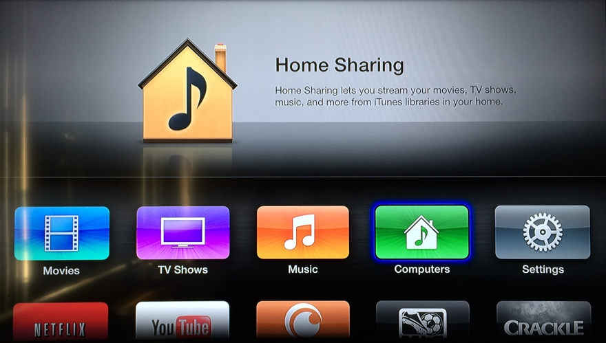 iTunes home sharing on Apple TV