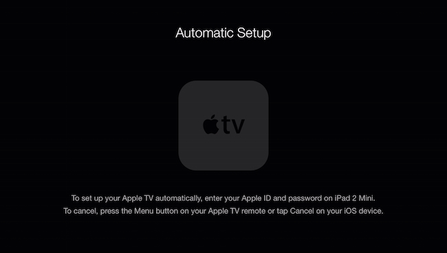 Automatic set up Apple TV
