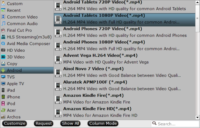 Backup to Android device formats