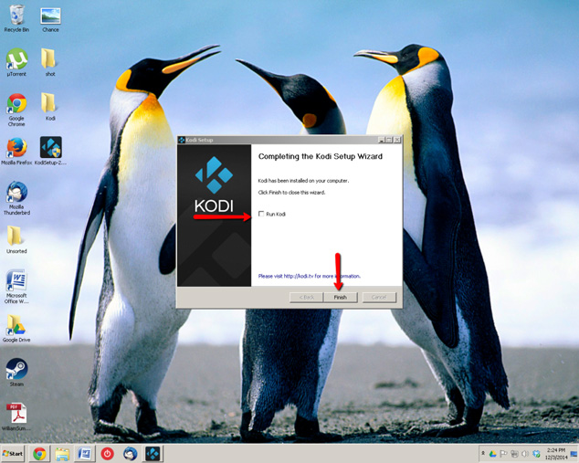 Click finish to complete Kodi installation