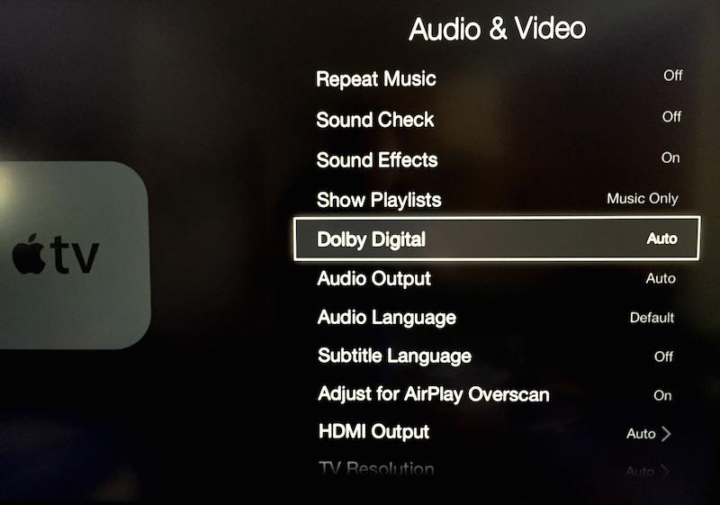 Enable Dolby Digital on Apple TV