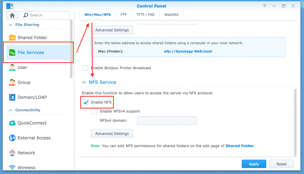 how to use synology nfs