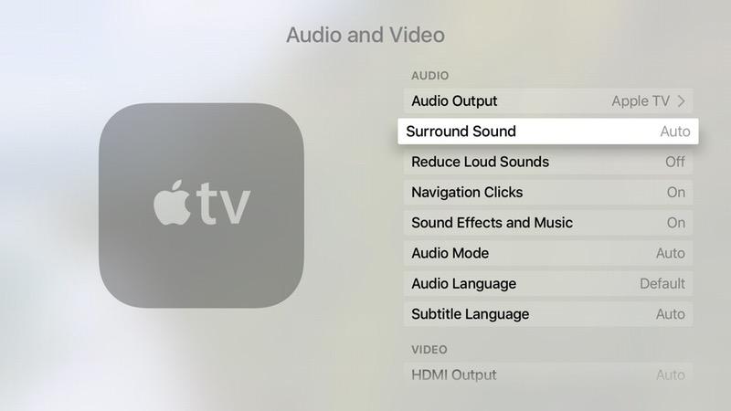New tvos surround sound settings