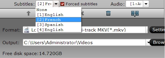 Select desired subtitle and enable forced subtitle