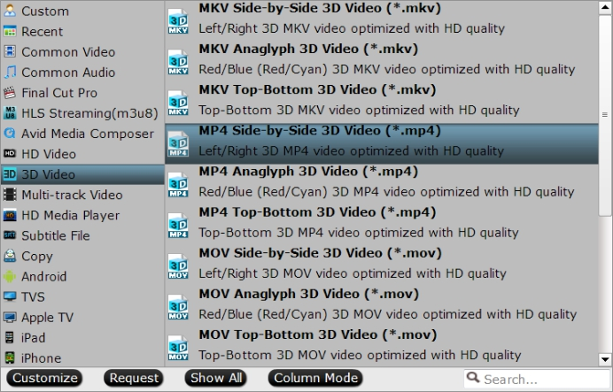 Output Side by Side 3D MP4 format