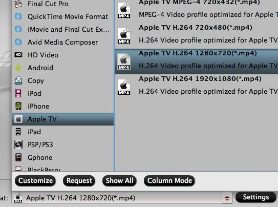 Output Apple TV 4 supported preset profile formats