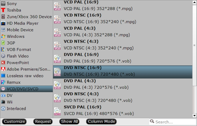 Output DVD video format