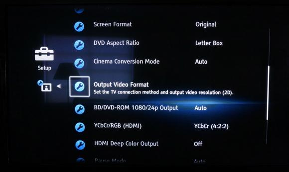Blu-ray player settings