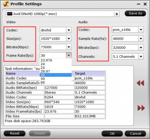 dnxhd-format-settings