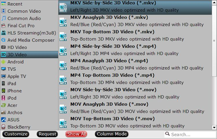 Choose output 3D video format and mode