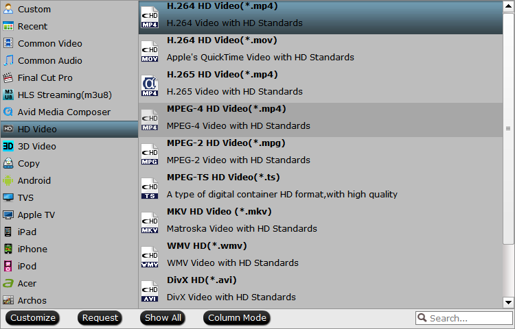 Choose output file format