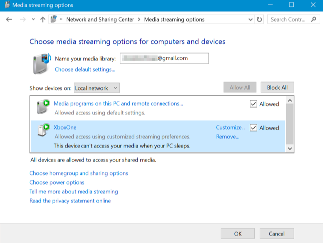 Choose media streaming options